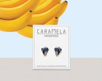 Chimpanzee Stud Earrings Animal stud Animals earring Chimpanzee earrings Post earrings Gift idea for her