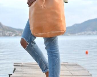 Bucket Bag, Leather Handbag, Bucket Handbag with drawstring, Shoulder Bag, Genuine Leather Bag, Handmade in Greece