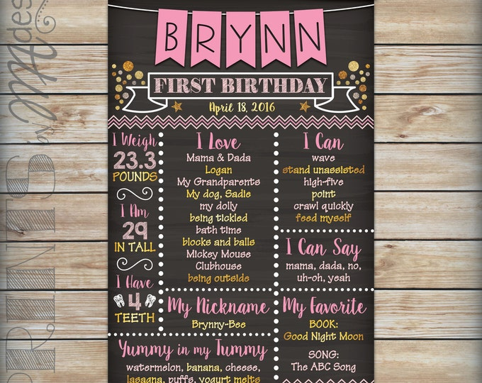 Pink and Gold Birthday Board Personalized Milestones Chalkboard Sign, Gold Glitter Custom 1st B-day Stats Poster, Digital Printable File