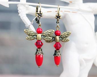 Coral earrings, vintage earrings, dragonfly earrings, red earrings, swarovski earrings