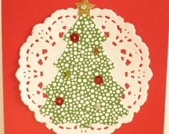 Red Christmas Card with Large Tree