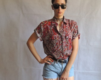 Vintage 80s 90s Abstract Print Short Sleeve Button Up Shirt Blouse