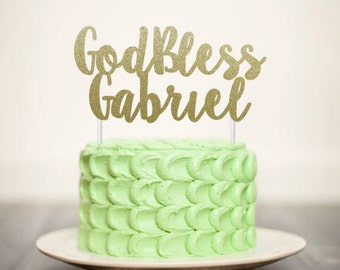 God Bless Custom Name - Glitter Cake Topper