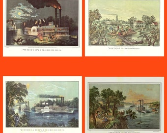 Scenes from the Mississippi from a 1950 Book of Currier and Ives Prints