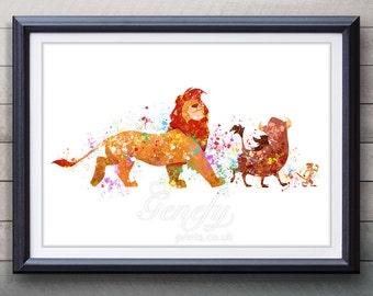 Disney Lion King Watercolor Poster Print - Wall Decor - Watercolor Painting - Watercolor Art - Kids Decor- Nursery Decor