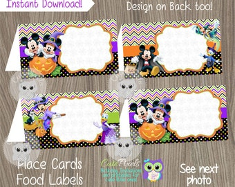 Mickey Mouse Halloween Place Cards, Mickey Halloween Food Tent, Mickey Mouse Halloween Food Labels, Halloween Party, Place Cards, Food Label