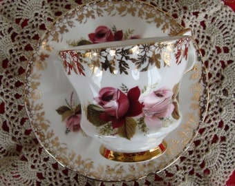 Windsor Bone China Made in England - Vintage Tea Cup and Saucer - Red and Pink Roses with Gold Trim