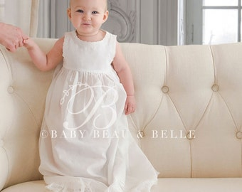 Girls Christening Gown Slip with Lace Hem, Baptism Gown Slip