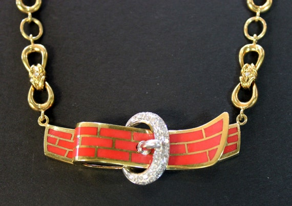 """Natural Coral Designer """"Buckle"""" Necklace, 1.00tcw, 18k gold. Circa 1947 - Layaway - See item details for more information"""