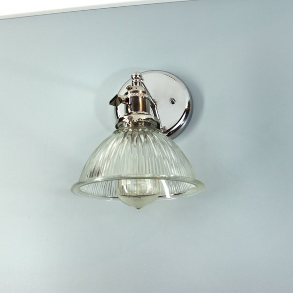 Fluted Glass Dome Wall Sconce Lamp. Polished Nickel Hardware