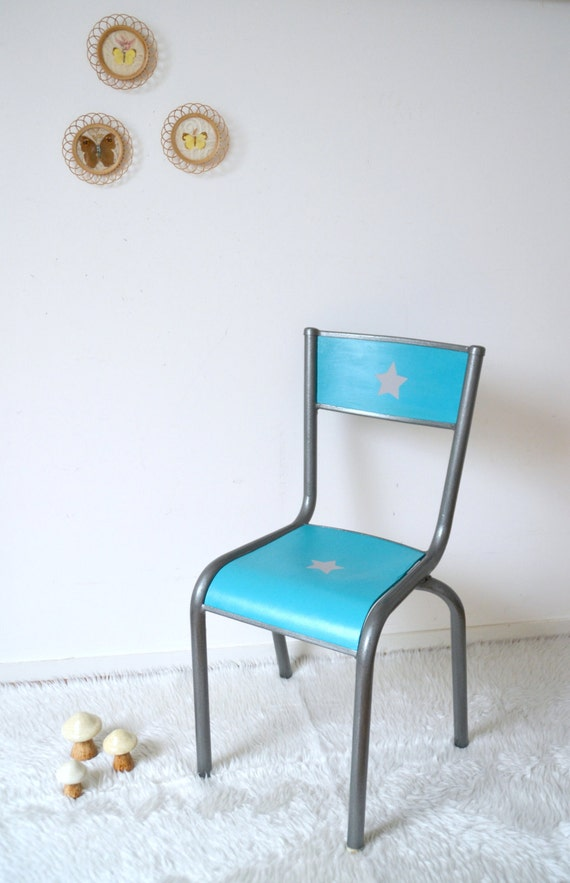 chaise de bureau enfant bleue turquoise vintage chair. Black Bedroom Furniture Sets. Home Design Ideas