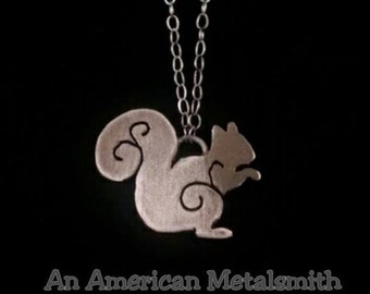 Sterling Silver Squirrel Necklac, Squirrel Jewelry, Animal Necklace, Filigree Squirrel Necklace, Sterling Squirrel Pendant, Animal Jewelry