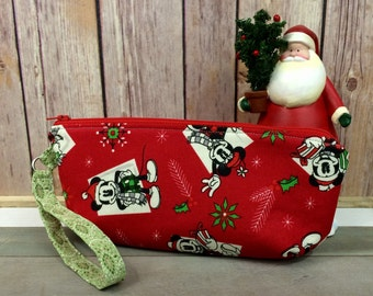 Christmas Clutch, purse, wristlet with Mickey Mouse and Minnie Mouse