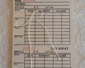 Set of 10 Vintage/Retro style Layaway tags with string