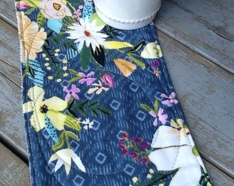 Modern Floral Print Mug Rugs / Reversible Print/Blue and Grey Fabric Snack Mats/ Set of 2