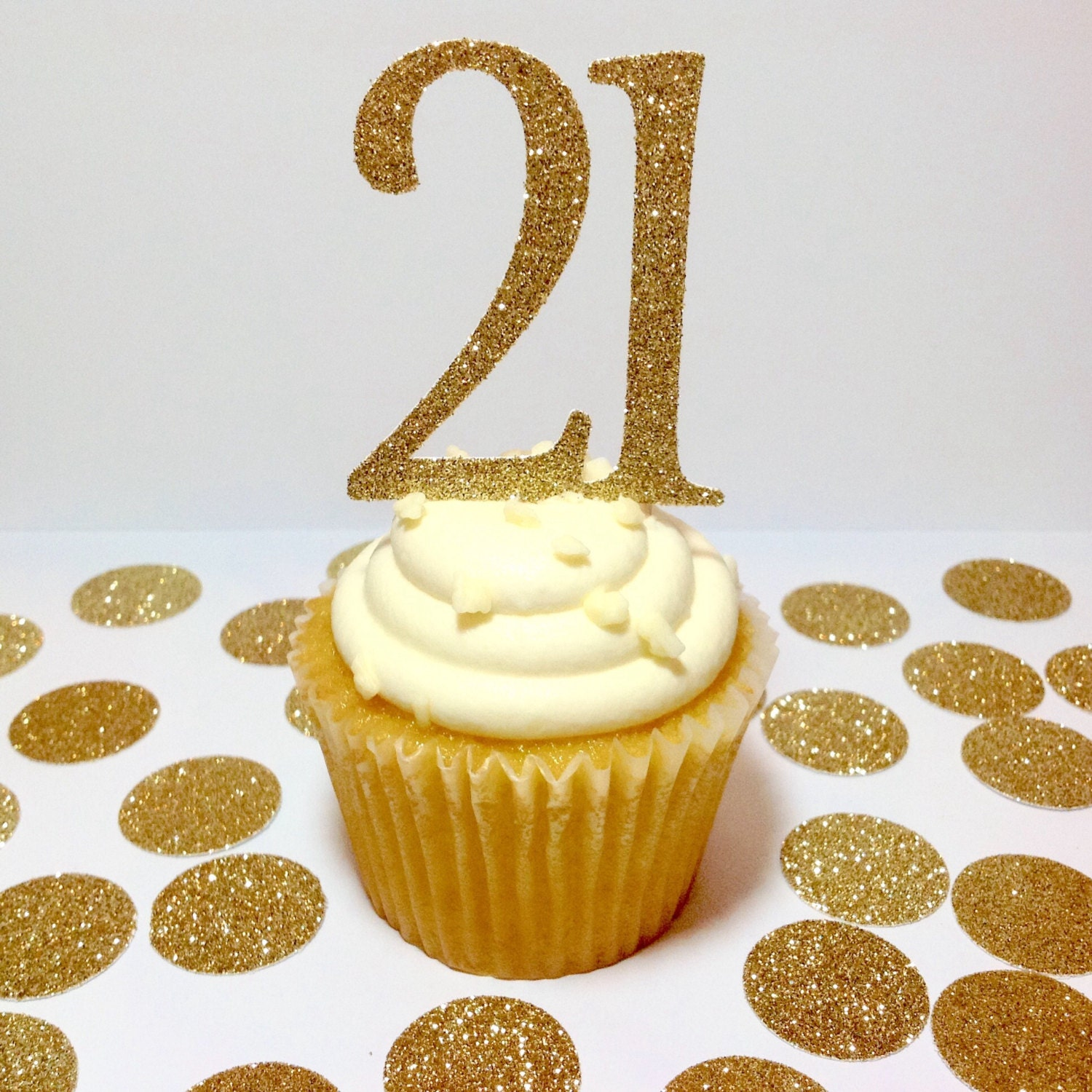 Gold Glitter 21 Cupcake Toppers Gold 21st Birthday Decor