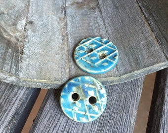 Aqua Ceramic Buttons | Set of 2 handmade round stoneware buttons  | Tahiti blue Buttons | Ceramic Accents for knit ware or crafts