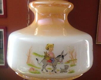 RARE, 1950/lamp glass suspended / / Lusterware Suspension/Illustrations children/room child/baby / Vintage Lusterware