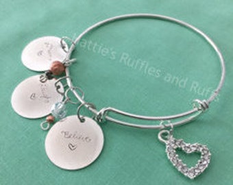 Believe, Laugh, Dream -- Charmed Bangle Bracelet -- FREE SHIPPING in U.S.