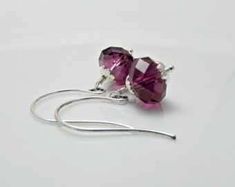 Swarovski Crystal Amethyst Blend Rondelles And Sterling Silver Earrings