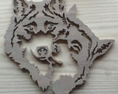 Wooden Hanging Wolf Mates