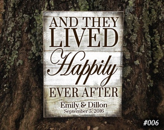 Custom Wedding Sign, AND/P, And They Lived Happily Ever After Couples Gifts, Wedding Gift,  Home Decor, Personalized Sign, Wedding Decor
