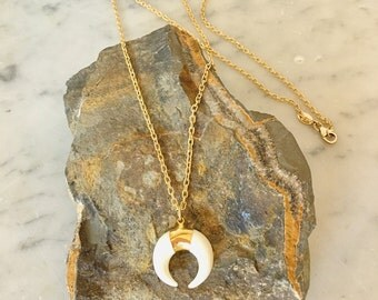 White Bone Crescent Moon on Gold Necklace
