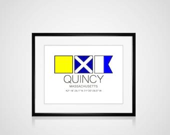 "QUINCY, Massachusetts Nautical Flag Art Print  Is 8"" x 10"" Or 11"" x 14"" Ocean Beach Cabin Lodge Coastal Decor Home"