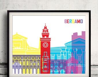 Bergamo skyline pop - Fine Art Print Glicee Poster Gift Illustration Pop Art Colorful Landmarks - SKU 1480