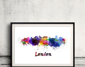 London ON skyline in watercolor over white background with name of city - Poster Wall art Illustration Print - SKU 1612