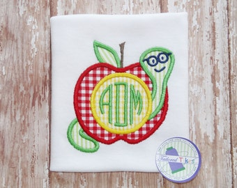 Personalized Back to School Shirt with Applique Apple Worm & Monogram - Monogrammed Apple Shirt - Fall Shirt - Boys Back to School Shirt