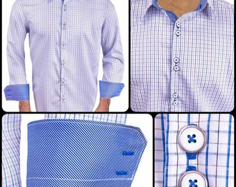 Italian Blue Plaid with Blue Contrast Designer Dress Shirt - Made in USA
