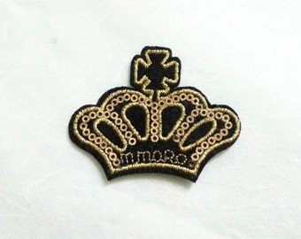 Gold Crown Sequin Iron on Patch (M) - SequinGold Crown,Glitter Applique Iron on Patch - Size 6.4x5.1 cm