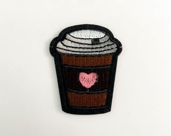 Coffee Cup Iron on Patch(M2) - Coffee Cup Applique Embroidered Iron on Patch - Size 4.4x5.4 cm