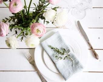 Stone Washed Linen Cloth Napkins set of 6