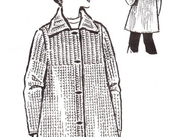 Knit Sweater Coat Pattern Sport Coat with Ribbed Yoke Sizes 10 to 20 Instant Download