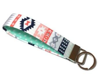 Navy, coral, pink, mint aztec wristlet key fob, wristlet keychain, key lanyard, wrist keychain, fabric keychain, teacher gift, gift under 10