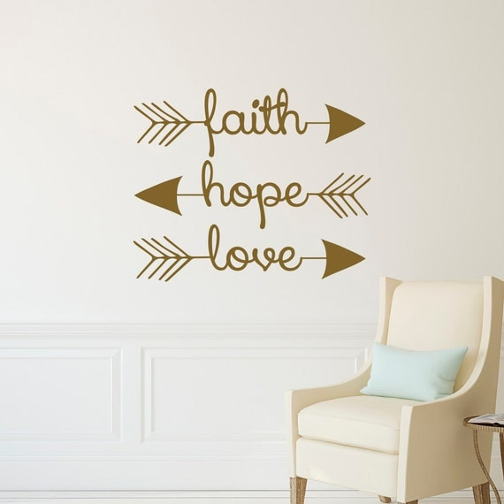 Faith hope love wall decal arrow wall decal arrow wall for Small room quotes