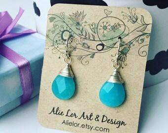 Tear drop earrings, turquoise earrings, turquoise jades, aqua earrings, wire wrapped earrings, christmas gift
