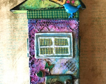 House Assemblage: Living My Dream - Mixed Media House - Art House - Altered Art - Housewarming Gift - House Gift - Wooden Block House
