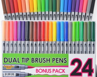 Dual Tip Brush Pens with Fineliner Tip 24 Colors