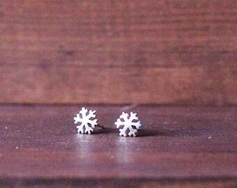 Pendientes copo de nieve, plata 925ml,hechos a mano
