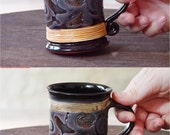 Ceramic Mug, Handmade Pottery Mug, Clay mug, Black Pottery Mug, Wheel thrown tea mug, Unique mug, Cute mug, Danko Pottery