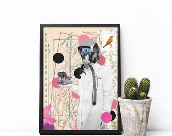"Surreal collage art, mixed media collage art, sewing pattern art, polka dot print, home decor wall art, original collage - ""Post Scriptum""."
