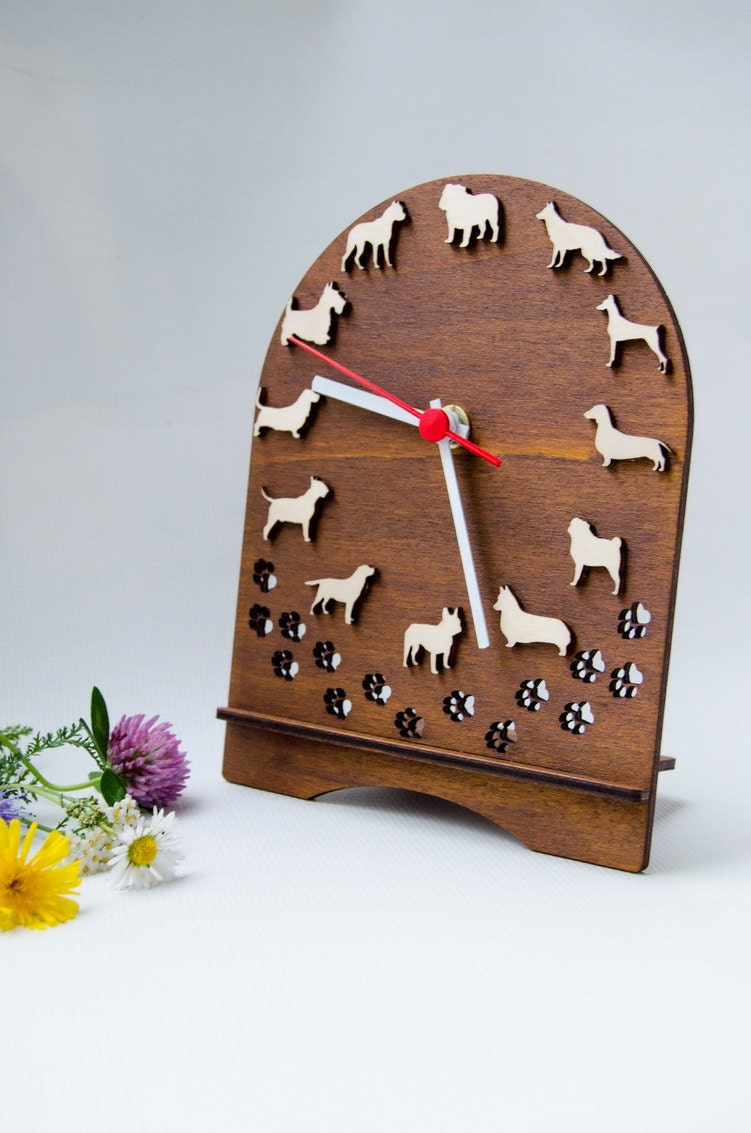 Table Desk Dog Clock Different Breeds Christmas Gift Idea