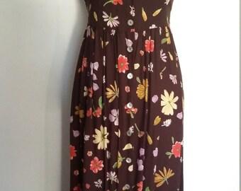 Brown dress, S, M, brown floral dress, fall colors dress, sleeveless dress, 80's dress, button front dress