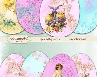 75% OFF SALE Easter Eggs - Digital Collage Sheet Digital Cards C151 Printable Download Image Tags Digital Atc Card ACEO Easter Cards