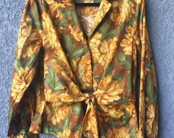Yellow floral Jones New York blouse