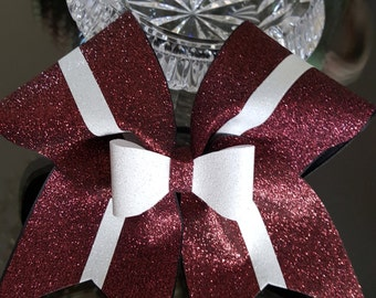 Marron/White Glitter Cheer Bow