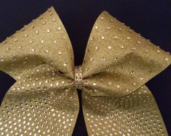 Multi Gold Glitter Gradient Rhinestone Cheer Bow